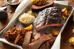 Barbecue Smoked Brisket and Ribs Platter Royalty Free Stock Photos