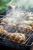 Barbecue smoked chicken legs preparing on metal grill at outdoor, selective focus stock images