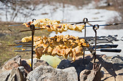 Barbecue among snow Stock Photography