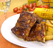Barbecue spare ribs from a grill Royalty Free Stock Photos