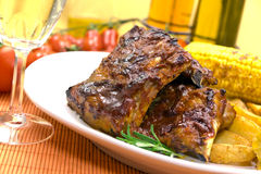 Barbecue spare ribs from a grill Royalty Free Stock Images