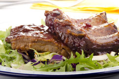 Barbecue spare ribs on a plate Royalty Free Stock Photo