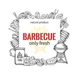 Barbecue square banners. BBQ party template with hand drawn meat, chicken, fish, sausage and tools. Vector hand drawn sketch illustration Royalty Free Stock Photo