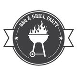 Barbecue stamp - bbq and grill. Party Royalty Free Stock Image