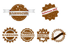 Barbecue stamp set Royalty Free Stock Image
