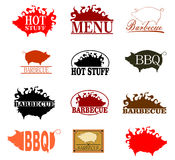 Barbecue stamp set. Barbecue rubber stamp set on a white background. Vector stock illustration