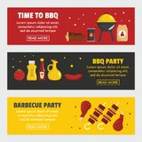 Barbecue and steak three horizontal banners. Template. Meat, firewood, coal and BBQ grill on a black background. Poster for barbecue party and time to BBQ Royalty Free Stock Photos