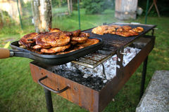 Barbecue with Steaks. In a summer garden Royalty Free Stock Image