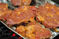 Barbecue steaks Stock Images