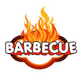 Barbecue sticker on flames background. Stock Images