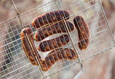 Barbecue Sticks With Meat on grill Stock Photos