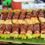 Barbecue sticks with meat Royalty Free Stock Images