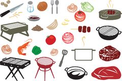 Barbecue Stuff Vector Icon and Illustration. For many purpose such as Restaurant, cafe or catering logo, promo tools, banner, website, menu book, etc Stock Illustration