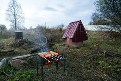 Barbecue su fondo del paesaggio rurale Fotografie Stock Libere da Diritti