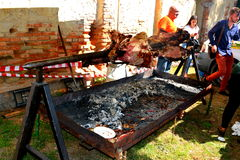 Barbecue in a Sunday in the village Crit (Kreutz), Transylvania. Stock Image