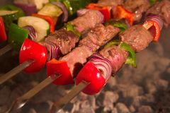 Barbecue sur des brochettes Photos libres de droits