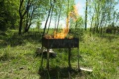 Barbecue sur le gril pendant l'été dehors, allumage des charbons Image stock