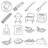 Barbecue tools icons set, outline style Stock Image