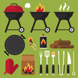 Barbecue tools. Vector set of barbecue tools Stock Photography