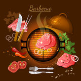 Barbecue top view grilled meat vector illustrati. Barbecue top view bbq grill party grilled meat vector illustration Royalty Free Stock Image