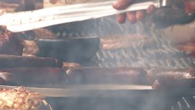 Barbecue on traditional outdoor festival stock video footage