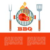 BBQ. Vector illustration. Barbecue, vector illustration with space for text. Delicious grilled steak, fork and spatula royalty free illustration