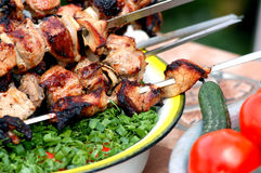 Barbecue and vegetables. In the garden Stock Photography
