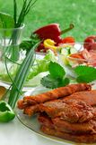 Barbecue and vegetables. Stock Photography