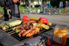 Barbecue. A Barbecue with vegetables and meat Stock Photography