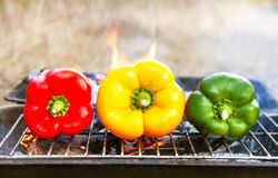 Barbecue vegetables (peppers, paprika) on the grill. Stock Image