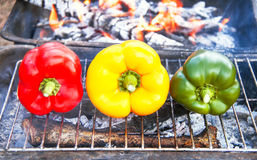 Barbecue vegetables (peppers, paprika) on the grill. Royalty Free Stock Photo