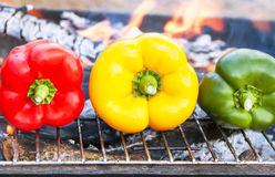 Barbecue vegetables (peppers, paprika) on the grill. Stock Images