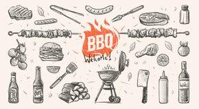 Barbecue verwante dingenhand getrokken illustratie Vector Stock Fotografie