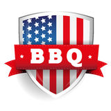 Barbecue vintage shield with USA flag Stock Photo