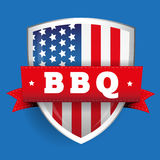 Barbecue vintage shield with USA flag Stock Photography