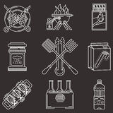 Barbecue white line icons Royalty Free Stock Images