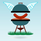 Barbecue wings. Grilled sausages Stock Photo