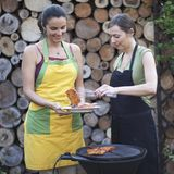 Barbecue women in the garden having fun Royalty Free Stock Images