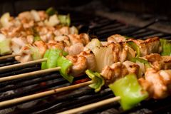 Barbecue on wooden sticks Royalty Free Stock Photography