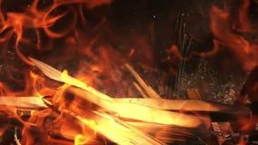 Barbecuebrand - Brandhout op Langzame Motie 02 stock videobeelden