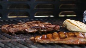 Barbecued стейк и цыпленок Стоковая Фотография RF