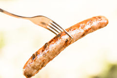 Barbecued beef and pork sausage on fork Stock Photography