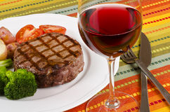 Barbecued Beef Steak And A Glass Of Red Wine 5 Stock Photography