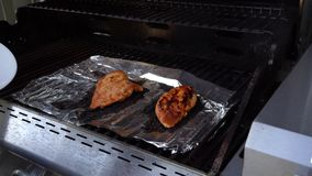 Barbecued Chicken Coming Off Grill & On A Plate stock footage