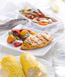 Barbecued chicken with fresh vegetables royalty free stock photos