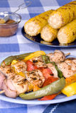 Barbecued chicken kebab dinner Stock Photography