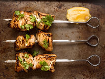 Barbecued chicken skewer Royalty Free Stock Image