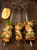 Barbecued chicken skewer Stock Photo