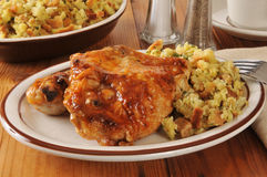 Barbecued chicken and stuffing Royalty Free Stock Image