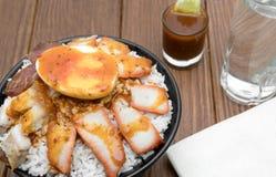 Barbecued czerwona wieprzowina w kumberlandzie z ryż Zdjęcia Stock